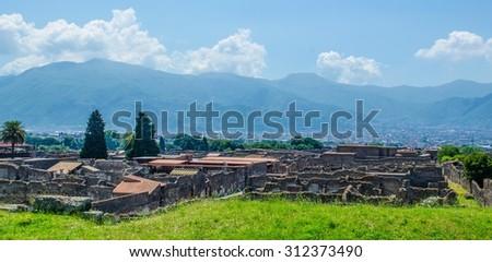 aerial view of pompeii ruins near italian naples. - stock photo