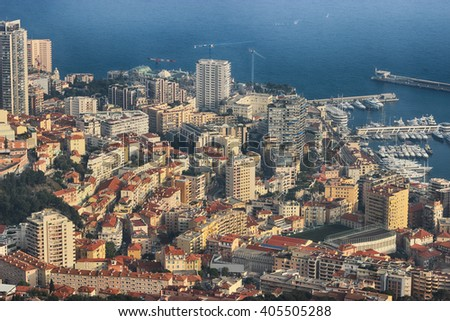 Aerial View of Port Hercule, Monte-Carlo and the Mediterranean Sea in Monaco - stock photo