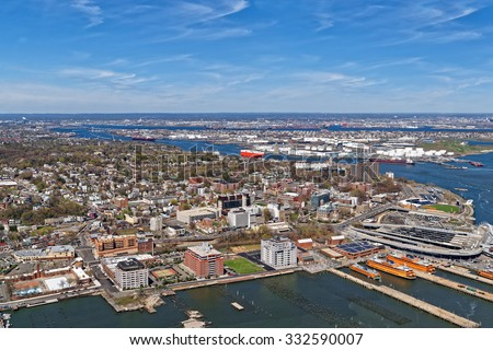 Aerial View Of Port Newark In Bayonne, New Jersey USA. The Area Is Known