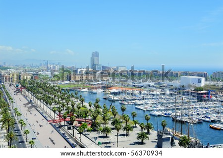 Aerial view of Port Vell and Maremagnum, in Barcelona, Spain - stock photo