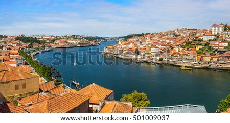 Aerial view of Porto in Portugal in a beautiful summer day