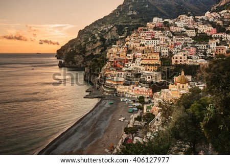 Aerial view of Positano village at sunset, along beautiful Amalfi Coast, Italy.