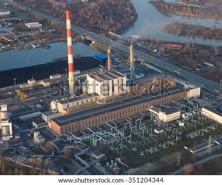 aerial view of power plant ( ec zeran ) in Warsaw Poland - stock photo