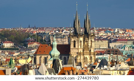 Aerial view of Prague (Czech Republic) - stock photo