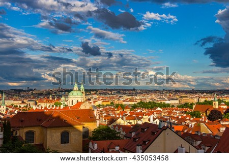 Aerial view of Prague from Prague Castle on a cloudy evening. Prague, Czech Republic - stock photo
