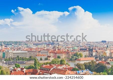 Aerial view of Prague from Prague Castle. Prague, Czech Republic - stock photo
