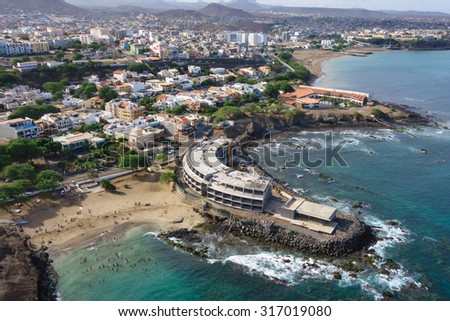 Aerial view of Praia city in Santiago - Capital of Cape Verde Islands - Cabo Verde - stock photo