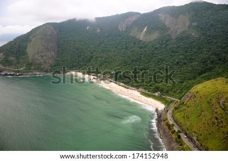 Aerial view of Prainha beach in Rio de Janeiro. - stock photo
