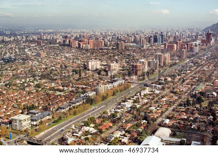 Aerial view of President Kennedy Expressway, Las Condes district, Santiago, Chile, South America - stock photo