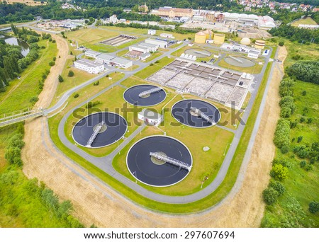 Aerial view of public sewage treatment plant for 165, 000 inhabitants of Pilsen city in Czech Republic, Europe.  - stock photo