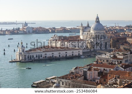 Aerial view of  Punta della Dogana with basilica di santa maria della salute, Venice Italy - stock photo