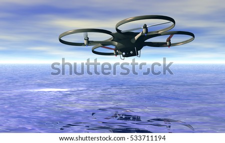 Aerial view of quadrocopter flying, 3d rendering