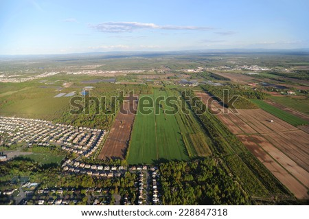 Aerial view of Quebec City area in the evening - stock photo