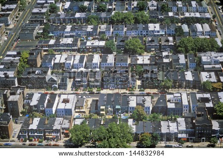 Aerial view of Queens, NY - stock photo