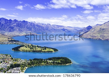 Aerial View of Queenstown in New Zealand, South Island - stock photo