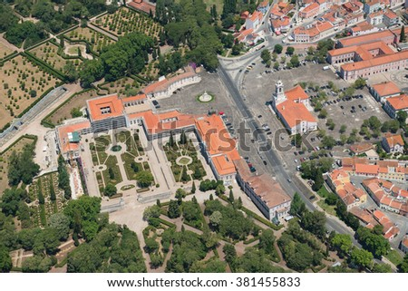 Aerial view of Queluz National Palace, Sintra region, Portugal