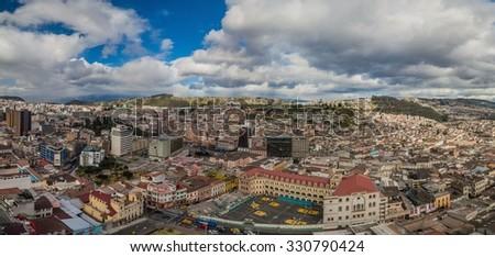 Aerial view of Quito, capital of Ecuador - stock photo