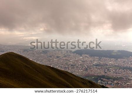 Aerial view of Quito Ecuador - stock photo