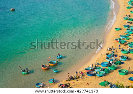 Aerial view of Quy Nhon beach with curved shore line in Binh Dinh province, Vietnam