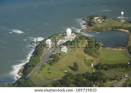 Aerial view of Radome antenna at Punta Salinas radio station North west of  Puerto Rico - stock photo