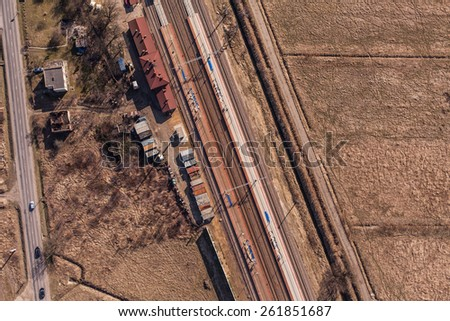 aerial view of railway station in Poland