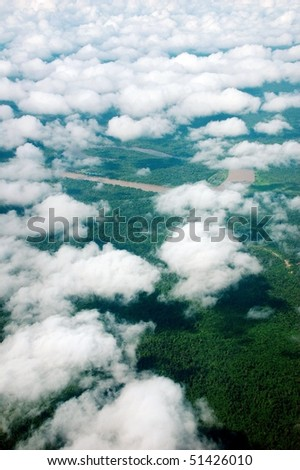 aerial view of rain forest in Gunung Mulu National park, Borneo, Malaysia, Asia. - stock photo