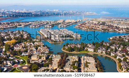 Aerial view of Redwood Shores in California.