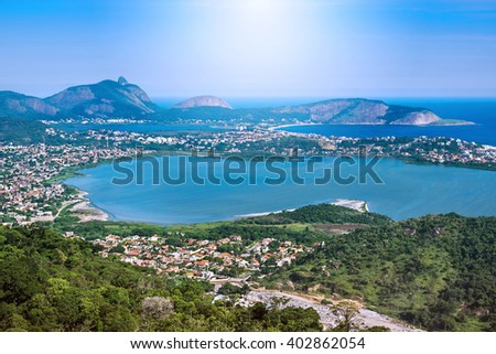 Aerial view of Regiao Oceanica (Oceanic Region) in Niteroi, Rio de Janeiro, Brazil.  - stock photo