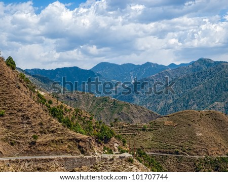 Aerial view of remote Himalayan region in Chamba district Himachal Pradesh India - stock photo