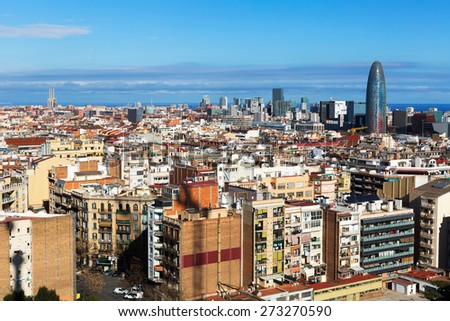 Aerial view of  residential  district. Barcelona, Spain - stock photo