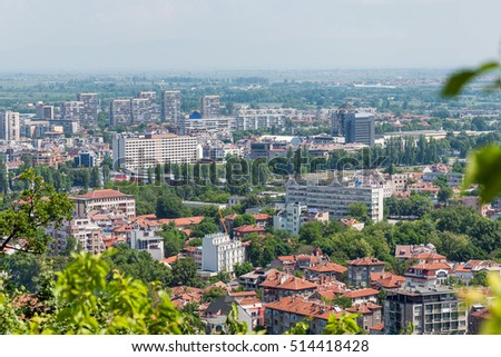 Aerial view of residential district in Plovdiv, Bulgaria
