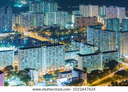 Aerial view of residential district of Hong Kong City at night