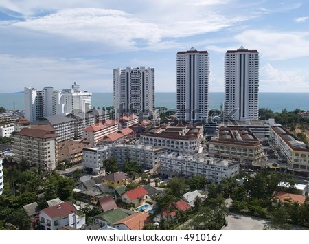 Aerial view of resort town by the sea, Jomtien Beach, Pattaya, Chonburi province, Thailand.