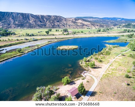 Aerial view of rest area near Colorado River at Rifle, Colorado.