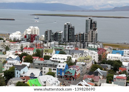 Aerial view of Reykjavik downtown, capital of Iceland. - stock photo