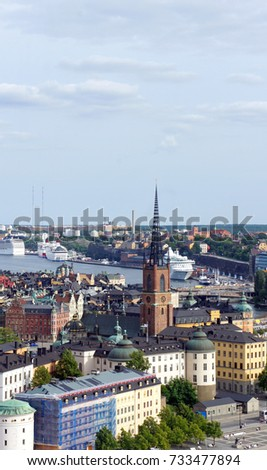 Aerial view of Riddarholm Church in Gamla Stan from the observation deck of Town Hall, Stockholm, Sweden