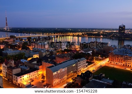 Aerial view of Riga by night.