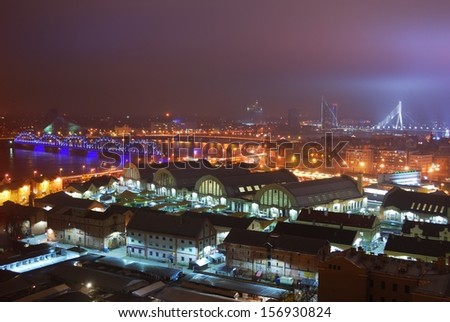 Aerial view of Riga by night. Fog - stock photo
