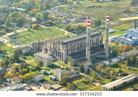 Aerial view of Riga heat and power central