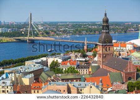 Aerial view of Riga, Latvia - stock photo