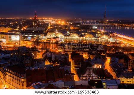 aerial view of Riga, Latvia, at night