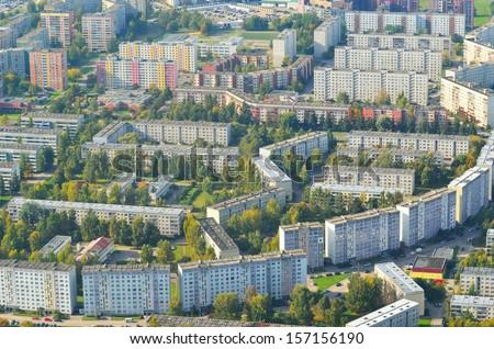 Aerial view of Riga suburbs - stock photo