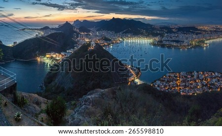 Aerial view of Rio de Janeiro, Brazil. Taken from Sugarloaf mountain. - stock photo