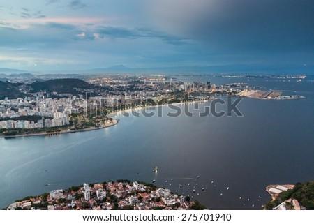 Aerial view of Rio de Janeiro, Brazil. Taken from Sugarloaf mountain. - stock photo