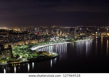 Aerial view of Rio De Janeiro by night - stock photo