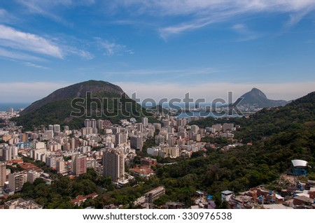 Aerial view of Rio de Janeiro Humaita district from the Santa Marta slum - stock photo