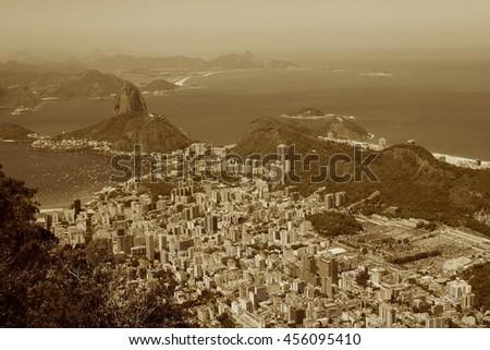 Aerial View of Rio de Janeiro in Brazil, South America (Sepia Colour) - stock photo