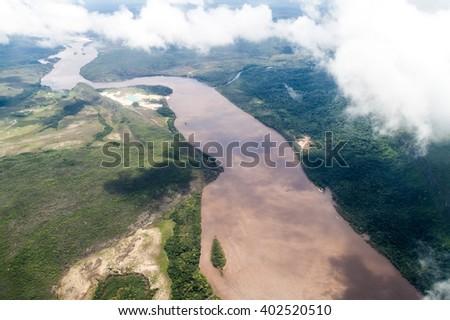Aerial view of river Caroni in Venezuela - stock photo