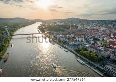 Aerial view of river Danube in Bratislava center at sunset, Slovakia - stock photo