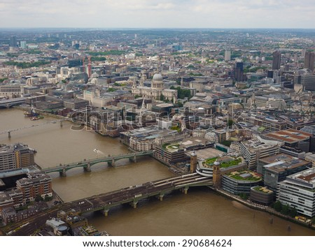 Aerial view of River Thames in London, UK - stock photo